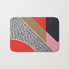 Pink Gold Red Abstract Bath Mat
