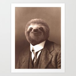 Gentleman Sloth #1 Art Print