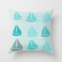 Funny Sailboat Race Throw Pillow