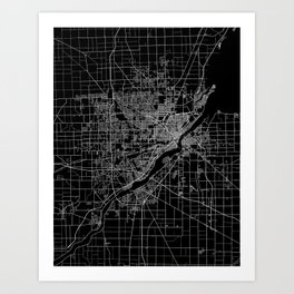 Toledo map ohio Art Print