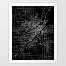 Toledo map ohio Art Print
