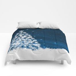Blue Christmas Eve Snowflakes Winter Holiday Comforters
