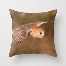 Barn Owl in Flight Throw Pillow