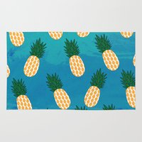 pineapples Area & Throw Rugs featuring Pineapples  by Ashley Hillman