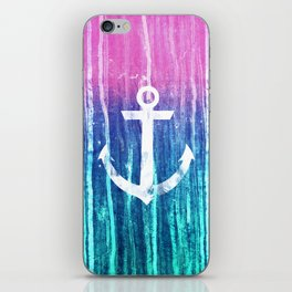 Nautical Anchor Pink Teal Watercolor Stripes Drips iPhone Skin