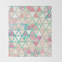 Pink Turquoise Abstract Floral Triangles Patchwork Throw Blanket