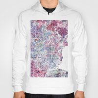 detroit Hoodies featuring Detroit map by MapMapMaps.Watercolors