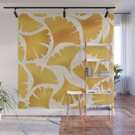 Abstraction_GOLDEN_Ginkgo_Pattern_Minimalism_001 Wall Mural