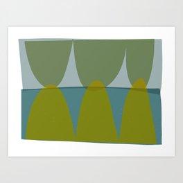 Green and Blue Eliptical Art Print