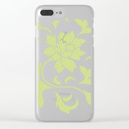 Oriental Flower - Daiquiri Green Circular Pattern On White Background Clear iPhone Case