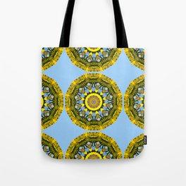 Floral mandala-style, sunflower Tote Bag