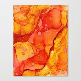 Orange Burst: Original Abstract Alcohol Ink Painting Canvas Print