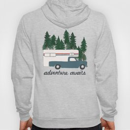 Adventure Awaits Truck Camper RV Camping Patriotic Forest Hoody