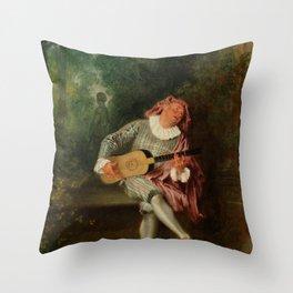 """Antoine Watteau """"Mezzetin"""" Throw Pillow"""