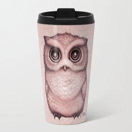 """The Little Owl"" by Amber Marine ~ (Peach Fuzz Version) Graphite&Ink Illustration, (Copyright 2016) Travel Mug"