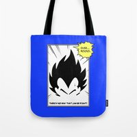 dragonball Tote Bags featuring IT'S OVER 9000 (Dragonball, Vegeta)  by SOULTHROW