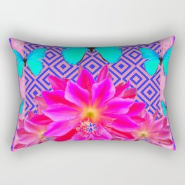 Fuchsia Orchid Flowers Turquoise Butterfly Patterns Rectangular Pillow