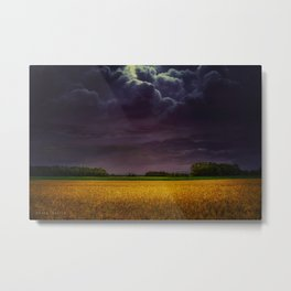 Wheat field under the purple sky Metal Print