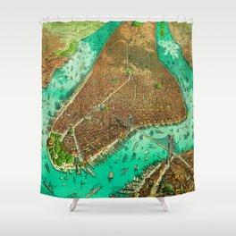 Retro New York Print Shower Curtain