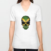 jamaica V-neck T-shirts featuring Dark Skull with Flag of Jamaica by Jeff Bartels