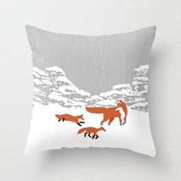 Foxes - Winter forest Throw Pillow