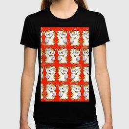 Lucky cat, calico maneki red pattern T-shirt