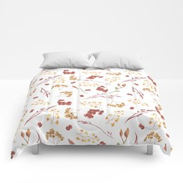 Autumn yellow orange pink red watercolor fall leaves berries Comforters