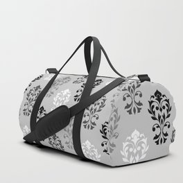 Heart Damask Art I Black White Greys Duffle Bag