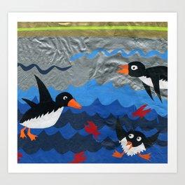 Penguin Vinyl Cut Collage Art Print