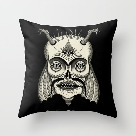 Three-Eyed Skull with Unibrow Throw Pillow