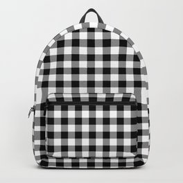 Medium Black Christmas Gingham Plaid Check Backpack