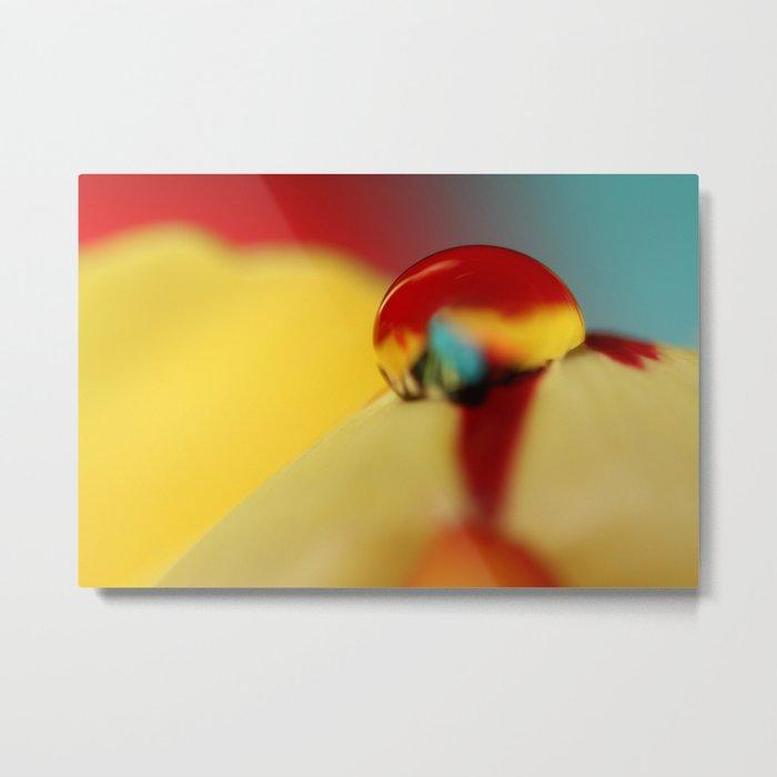 Tulip Drop Against Blue Metal Print