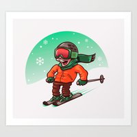 ski Art Prints featuring Ski by nicosarmiento