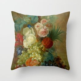 "Jan van Os ""Still life of peonies, a cock's comb and morning glories"" Throw Pillow"