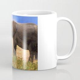 Baby Elephant With Elephant Parents In Kenya, Africa Coffee Mug
