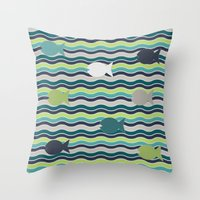 under the sea Throw Pillows featuring Under The Sea by LLL Creations