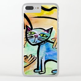 My Crazy Cat No. 2 by Kathy Morton Stanion Clear iPhone Case