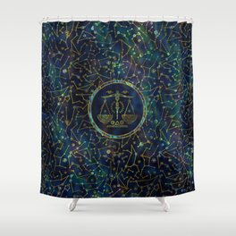 Libra Zodiac Gold Abalone on Constellation Shower Curtain