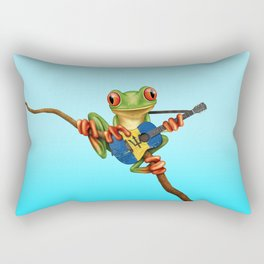 Tree Frog Playing Acoustic Guitar with Flag of Barbados Rectangular Pillow