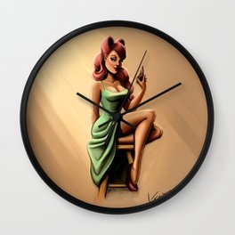 Minty Madmoiselle  Wall Clock