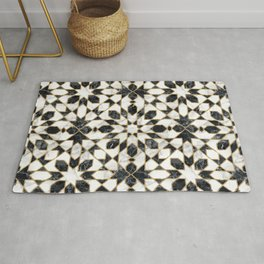 Black and white marble Moroccan mosaic Rug