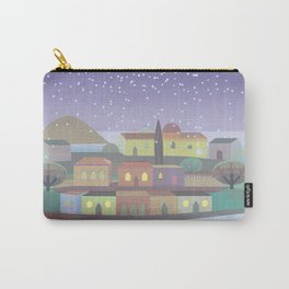 Snowing Village at Night Carry-All Pouch