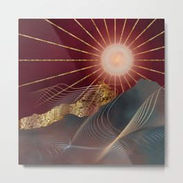 Supermoon Shining On Valleys And Mountains Metal Print