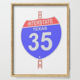 Interstate highway 35 road sign in Texas Serving Tray