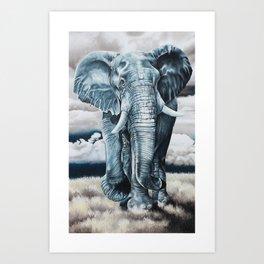 Blue Elephant Art Print