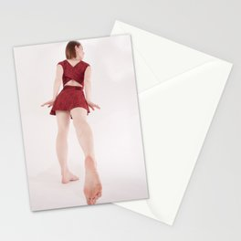 1185s-MM Barefoot Megan in a Little Red Dress High Key Art Photograph Stationery Cards