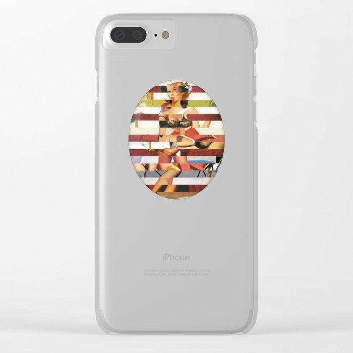 Glitch Pin-Up Redux: Britney Clear iPhone Case