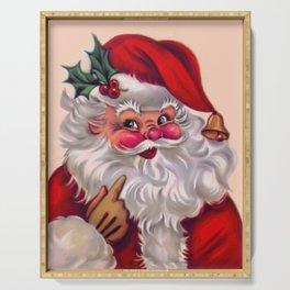 Cute vintage santa claus 2 Serving Tray