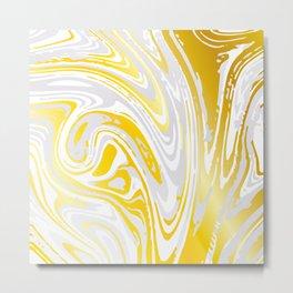Luscious Yellow and Lemon Zest Caramel Swirl Marble Metal Print