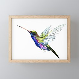 Flying Hummingbird, Blue green wall art minimalist bird Framed Mini Art Print
